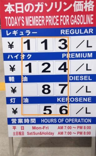 2015年12月09日のガソリン価格