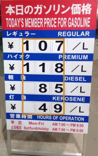 最新のガソリン価格