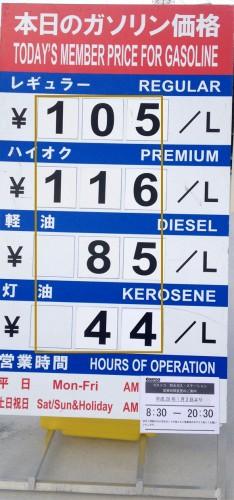 2016年1月2日のガソリン価格