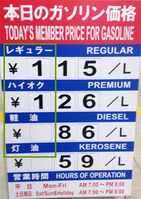 2015年11月20日現在のガソリン価格