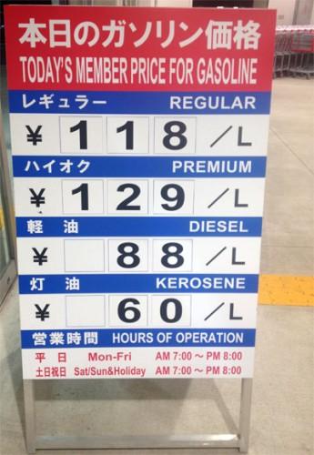 ガソリン価格スタンドの価格表示看板