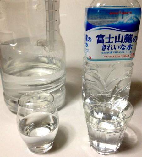 純水と富士山麓のきれいな水と飲み比べ